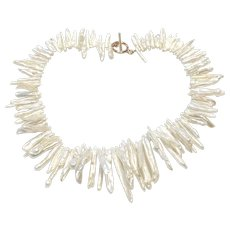 Branch Shape White Freshwater Pearls Necklace