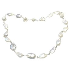 Sterling Silver Baroque Pearls Hand Wrapped necklace