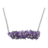Amethyst Cluster Necklace Sterling Silver Crystal Pins February Birthstone