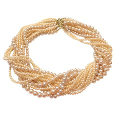 14 Strands Pink Champagne Freshwater Cultured Pearls Torsade Necklace Choker Sterling Silver Gold Vermeil