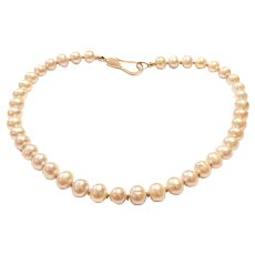 11mm Pink Champagne Freshwater Cultured Pearl Necklace with Crystal Pave Rose Gold Plated Sterling Silver Clasp