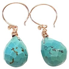 Faceted Turquoise Drop Shape Earrings Rose Gold Plated Sterling Silver ear wires