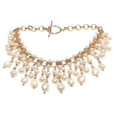 Handmade Freshwater Pearls Bib Statement Necklace Rose Gold Plate
