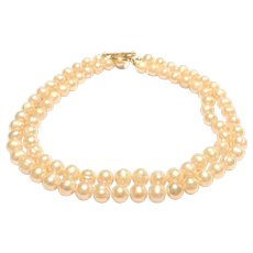 Double Strand 10mm Champagne Color Oval Freshwater Cultured Pearl Necklace