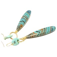 Long Rainbow Jasper Drop and Anchor Link Howlite Gold Vermeil Sterling Silver Earring Ear Wires
