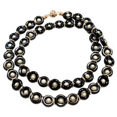 Black Onyx Loops and White Pearls Necklace