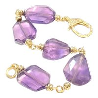 Amethyst Faceted Chunks Bracelet February Birthstone Gold Plated Brass Crystal Pave Clasp