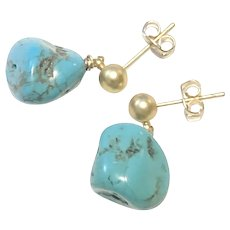 Natural Turquoise Nugget Dangling Earring Matte Sandblasted Gold Plated Post Stud