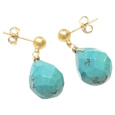 Natural Turquoise Faceted Pear Shape Dangling Earring Matte Sandblasted Gold Plated Post Stud