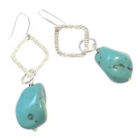 Sterling Silver Turquoise Dangling Loops Earring