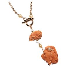 Double Carved Flower Salmon Coral Lariat Necklace Rose Gold Plated Brass