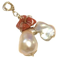 14K GF Red Italian Coral Pink Champagne Baroque Pearl Pendant Handmade