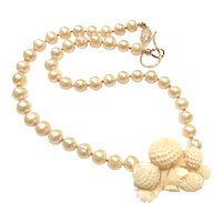 Large Angel Skin Carved Coral Chrysanthemum Flower And 10mm Champagne Pearl Necklace Rose Gold Vermeil Sterling Silver