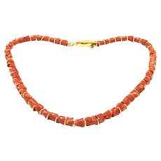 150ct Italian Red Coral Branch Necklace Gold Vermeil Sterling Silver Clasp