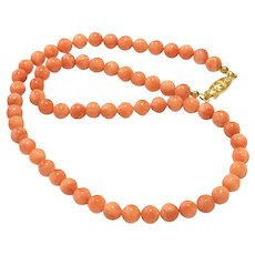 26gr 7mm Salmon Pacific Coral Beads Necklace