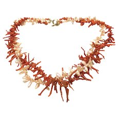 Red Italian Coral Branch and Champagne Keshi Petal Pearls Necklace