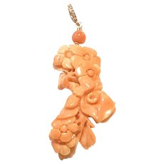 50ct Pink Salmon Carved Flower Pacific Coral Pendant