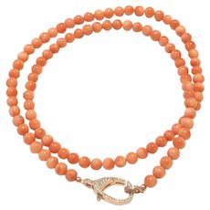 """28gr 22"""" 6mm Salmon Pink Pacific Coral Beads Necklace Crystal Pave Rose Gold Plated Brass Lobster Clasp"""