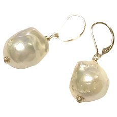 14K GF Lever Back Large Champagne Baroque Freshwater Pearl Drop Earring