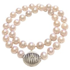 AAA 10-11mm Solid Nacre Natural Pink Color Freshwater Cultured Pearl Necklace Sterling Silver Purse Clasp