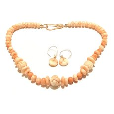 Upcycled Vintage Angel Skin Salmon Coral Carved Longevity Beads Necklace and Earring Set Rose Gold Vermeil and Rose GF