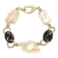 Large Baroque Pearl and Black Onyx Anchor Link Gold Plated Bracelet