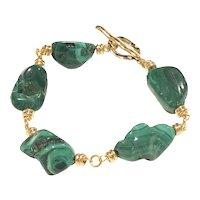 Green Malachite Tumbled Nugget Gold Plated Bracelet