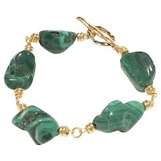 Green Malachite Tumbled Nugget Gold Plated Bracelet