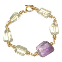 Green and Purple Amethysts Bracelet Large Faceted Chunks February Birthstone