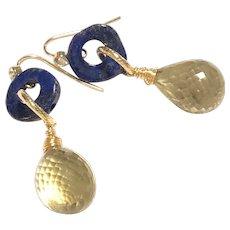 Golden Lemon Quartz and Lapis Lazuli Gold Plated Earring