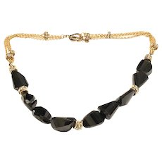 Large Black Spinel Faceted Chunky Stone Necklace Matte Gold Plated