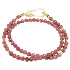 6mm Pinkish Ruby Smooth Round Ball Beads Necklace Sterling Silver Crystal Pave Clasp