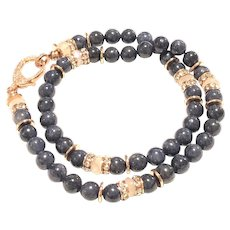 8mm Dark Blue Sapphire Round Smooth Beads and Rainbow Moonstone Necklace