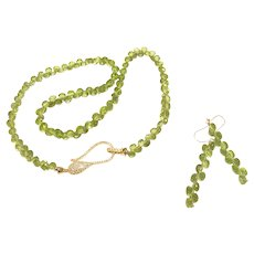 199ct AAA Peridot Faceted Onion Cut Beads Necklace Earring Set Gold Vermeil Sterling Silver Crystal Pave Clasp