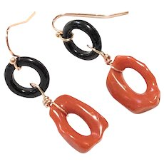 Red Italian Coral Branch Loop Earring Rose Gold Plated Ear Wires