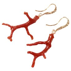 Red Italian Coral Branch Earring Rose Gold Plated Ear Wires Pave Crystal