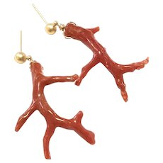 Red Italian Coral Branch Earring Matte Gold Stud Post