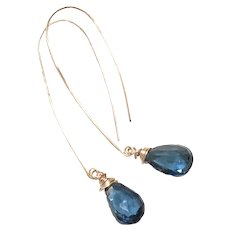 10ct AAA Blue Topaz Teardrop Earring in London Blue and Handmade Rose Gold Filled Ear Wires