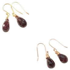 Faceted Briolette Garnet Earring Gold or Rose Gold Vermeil Sterling Silver Ear Wires