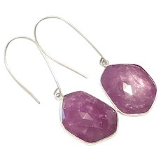 40ct Natural Rose Cut Pink Sapphire Earring Sterling Silver