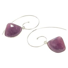 24ct Rose Cut Pink Sapphire Earring Sterling Silver Ear Wires September Birthstone