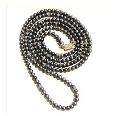 "65"" AAA 7mm Black Freshwater Pearl Long Rope Necklace Multi Layered Torsade"