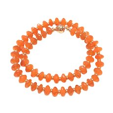 230ct Intense Orange Carnelian Beads Large Rondelle Cut Rose GP