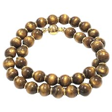 11mm Natural Black Gold  Coral Round Beads Necklace 18K GP