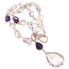 Lavender Pink and Purple Amethyst Chunky Beads Lariat Necklace with a Large Drop February Birthstone
