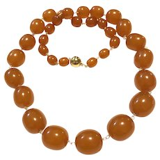 "26"" 88gr Upcycled Vintage Honey Cognac Butterscotch Amber Hans Wrapped 14K GF"
