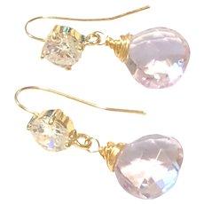 Pink Lavender Amethyst Drop Earrings CrystaL Gold Ear Wire February Birthstone