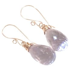Rose Gold Filled Pink Lavender Amethyst Briolette Drop Earring February Birthstone