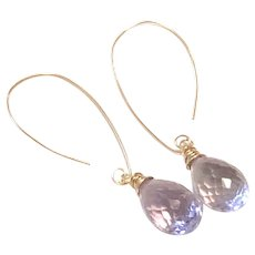 14K Gold Filled Pink Lavender Briolette Amethyst Ear Wires Earring February Birthstone