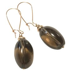Natural Smoky Quartz Rose Gold Plated Brass Earring